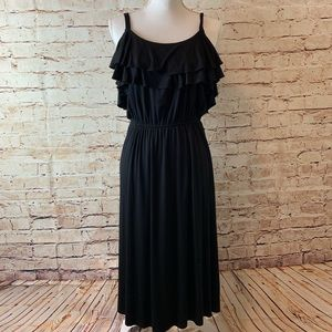 NWT LOFT Ruffle Cinch Midi Sun Dress Black
